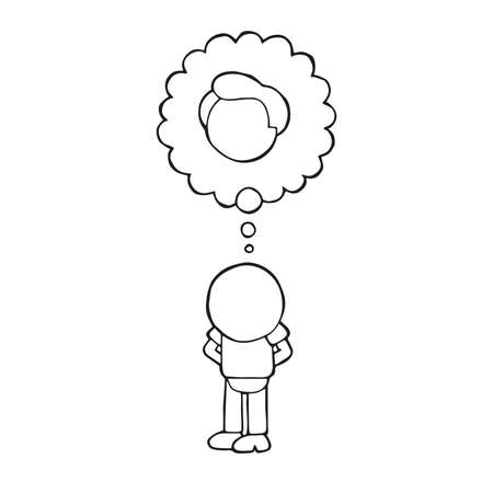 Vector hand-drawn cartoon illustration of bald man standing imagine with thought bubble of hair.