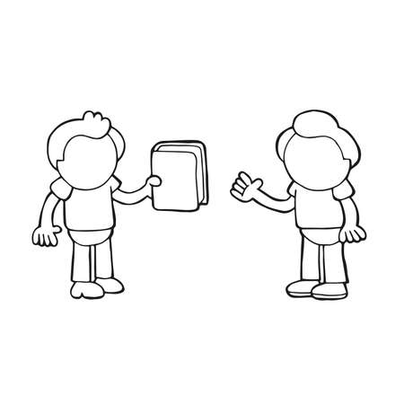 Vector hand-drawn cartoon illustration of man giving book to another man.