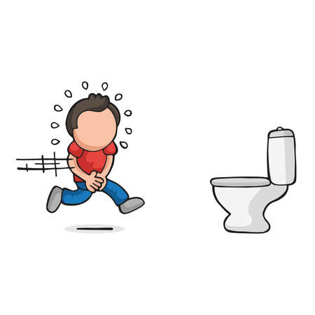 Vector hand-drawn cartoon illustration of man running to pee on toilet bowl.