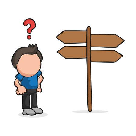 Vector l'illustrazione disegnata a mano del fumetto dell'uomo perso confuso che sta davanti al segno direzionale.