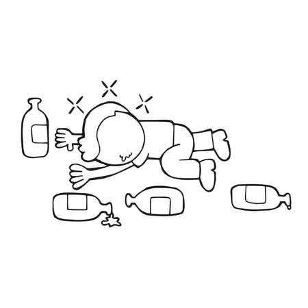 Vector hand-drawn cartoon illustration of drunk man lying on floor with empty beer bottles. Illustration