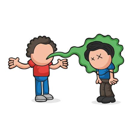 Ilustración de dibujos animados dibujados a mano de vector de con mal aliento hablando con otro hombre. Ilustración de vector