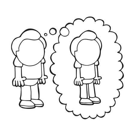 Vector cartoon handgetekende illustratie van dikke man die droomt van dunne gedachte zeepbel