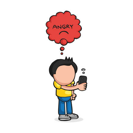 Vector hand-drawn cartoon illustration of man standing holding smartphone with angry thought bubble for bad wifi signal.