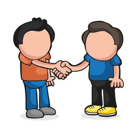 Vector hand-drawn cartoon illustration of two men standing shaking hands.