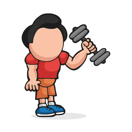 Vector hand-drawn cartoon illustration of man standing lifting dumbbell.