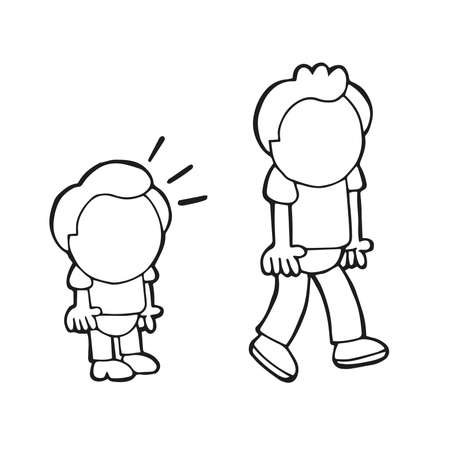 Vector hand-drawn cartoon illustration of short man look and envy tall man.