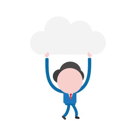 Vector illustration businessman mascot character walking and holding up cloud. Illustration