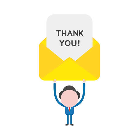Vector illustration businessman mascot character holding up thank you written on paper inside mail envelope.