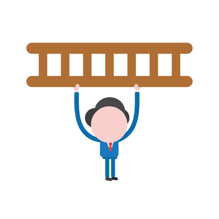 Vector illustration businessman mascot character holding up wooden ladder.