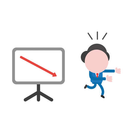 Vector illustration businessman mascot character running away from sales chart board and arrow moving down. Stockfoto - 111713392