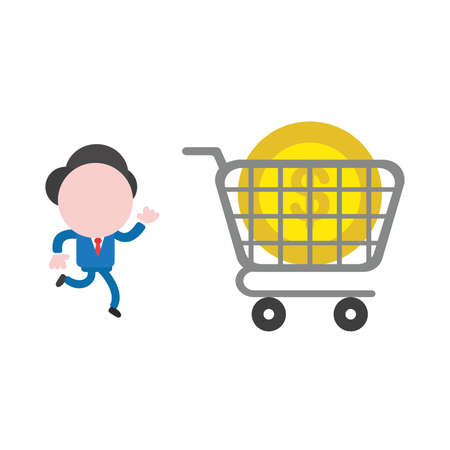 Vector illustration businessman mascot character running with shopping cart and dollar money coin. 向量圖像