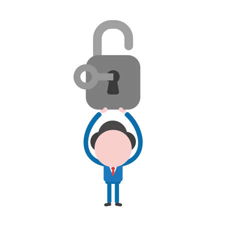Vector illustration businessman mascot character holding up open padlock, unlock with key. Illustration