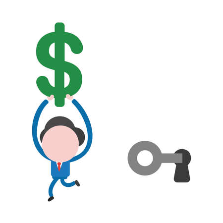 Vector illustration businessman mascot character unlock keyhole with key and running, holding up dollar money symbol.