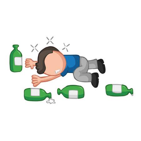Ilustración de dibujos animados dibujados a mano de vector de borracho tirado en el suelo con botellas de cerveza vacías. Ilustración de vector