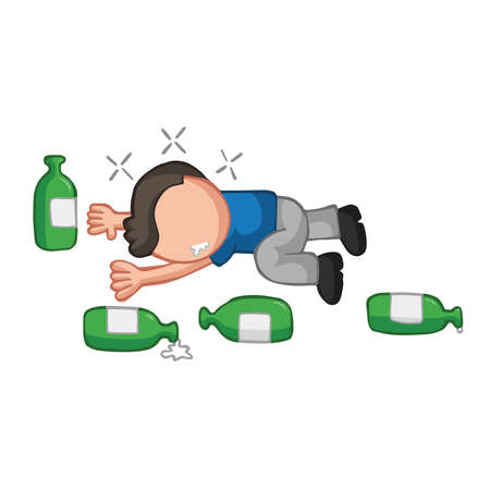 Vector hand-drawn cartoon illustration of drunk man lying on floor with empty beer bottles. Illustration