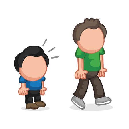 Illustrazione del fumetto disegnato a mano di vettore dello sguardo dell'uomo basso e dell'uomo alto di invidia. Vettoriali