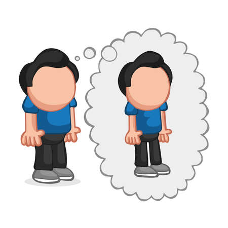 Vector hand-drawn cartoon illustration of fat man standing dreaming of being thin thought bubble