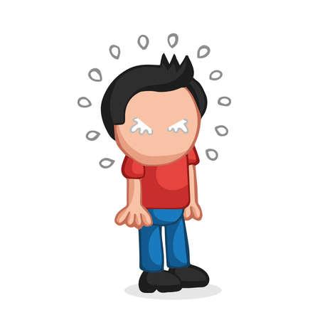 Vector hand-drawn cartoon illustration of man standing crying. Illustration