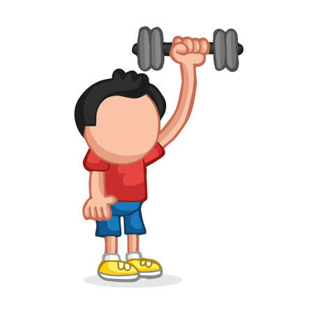 Vector hand-drawn cartoon illustration of man standing pumping dumbbells 向量圖像