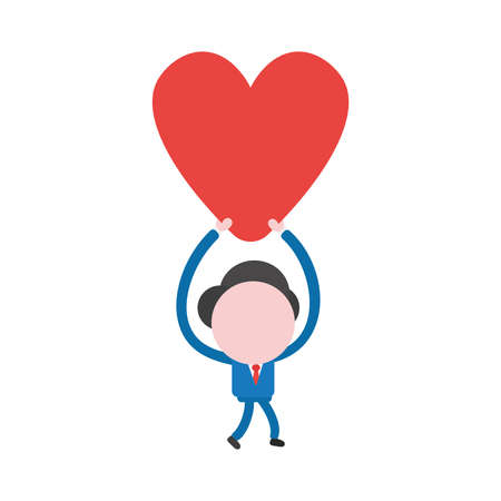 Vector illustration businessman character walking and holding up red heart icon.