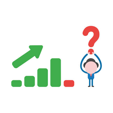 Vector illustration businessman character holding up red question mark with sales bar graph moving up and down.