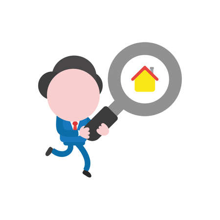 Vector illustration businessman character running and carrying magnifying glass with house icon. Ilustração Vetorial