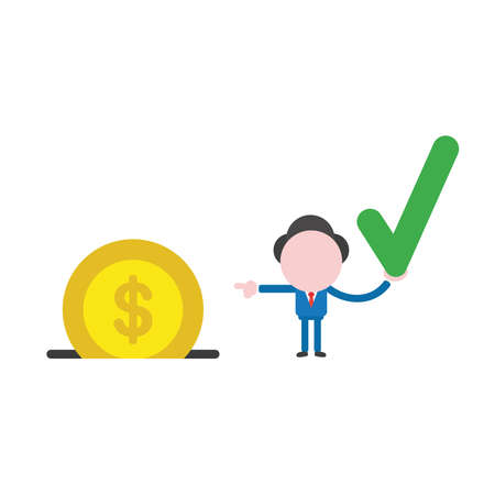 Carattere dell'uomo d'affari di illustrazione vettoriale che tiene il segno di spunta e indica la moneta dei soldi del dollaro nel buco del salvadanaio. Vettoriali