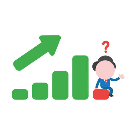 Vector illustration confused businessman character  sitting on sales bar graph moving up and down.