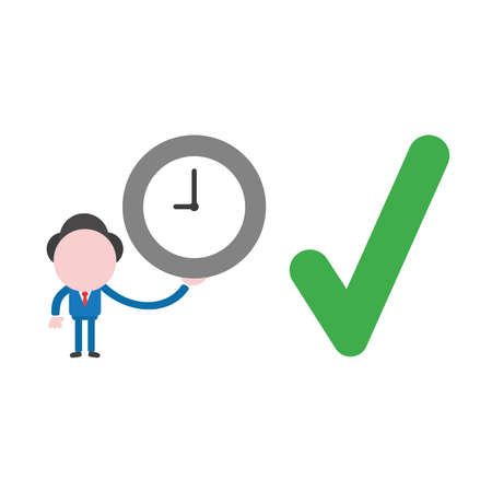 Vector illustration businessman character holding clock with green check mark icon. 向量圖像