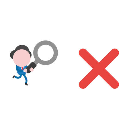 Vector illustration businessman character running and carrying magnifying glass to red x mark.