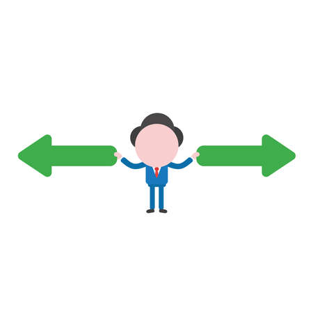 Vector illustration businessman character holding arrow pointing left and right ways. Illustration