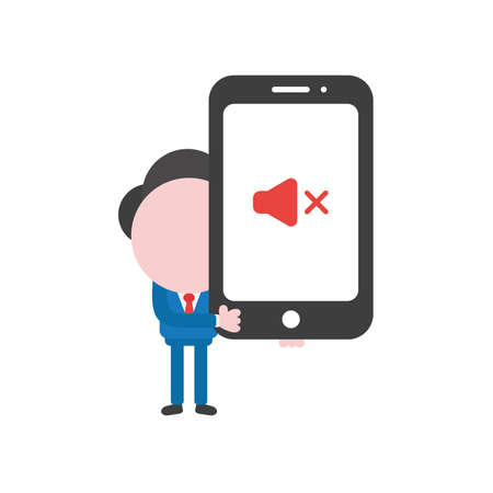 Vector illustration businessman character holding smartphone with sound off icon.
