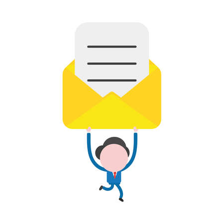 Vector illustration businessman character running and holding up envelope with written paper.
