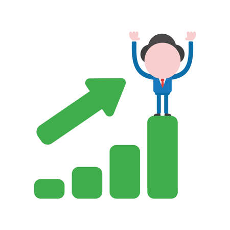 Vector illustration businessman character standing on top of green sales bar graph.