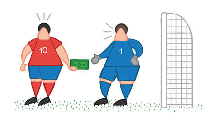 Vector illustration cartoon soccer player man giving bribe and goalkeeper taking money.