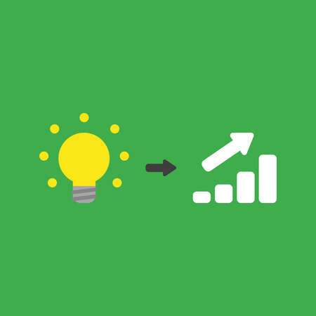 Flat vector icon concept of glowing yellow light bulb with sales bar graph arrow moving up on green background. Stock Illustratie