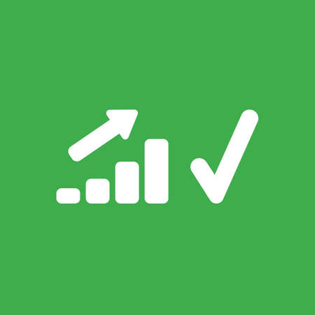 Flat vector icon concept of sales bar graph moving up with check mark on green background. Illustration