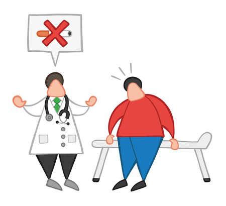 Vector illustration cartoon doctor man with his patient and saying no smoking with speech bubble.