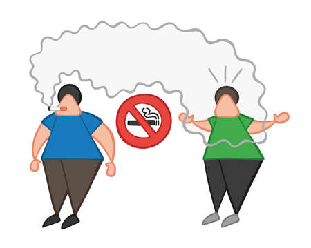 Vector illustration cartoon man character smoking cigarette where smoking is prohibited and other man angry.