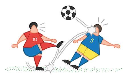 Homme de joueur de football de dessin animé d'illustration vectorielle botter le ballon et frapper le visage d'un autre joueur.