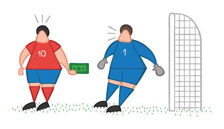Wektor ilustracja kreskówka piłkarz mężczyzna oferując łapówkę do bramkarza.