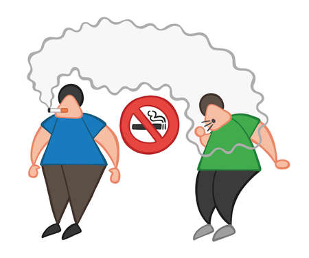 Vector illustration cartoon man character smoking cigarette where smoking is prohibited and other man coughing.