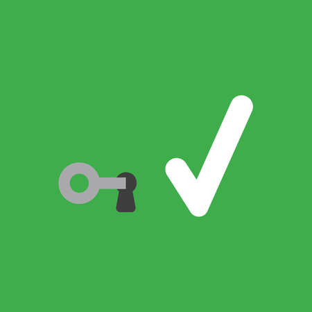 Flat vector icon concept of key into keylock and check mark on green background. 向量圖像