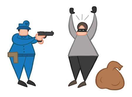 Vector illustration dessin animé voleur homme avec visage masqué et sac a été attrapé par la police. Vecteurs