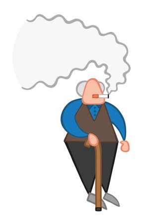 Uomo anziano del fumetto di illustrazione vettoriale in piedi con il bastone da passeggio in legno e il fumo di sigaretta.