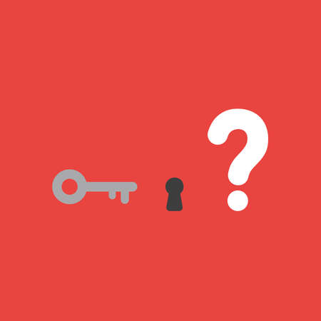 Flat vector icon concept of key with keyhole and question mark on red background.