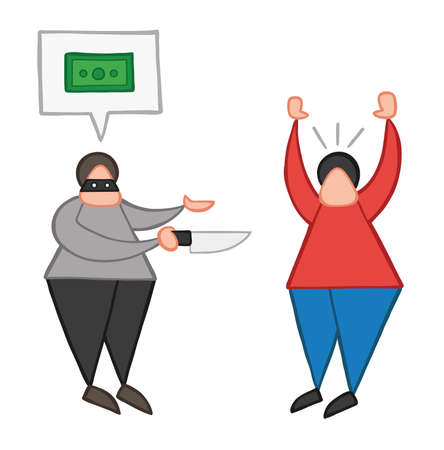 Vector illustration cartoon thief man with face masked with knife and want money with speech bubble from other man.