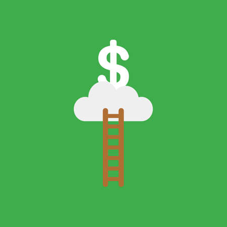 Flat vector icon concept of wooden ladder, cloud and dollar on red background.