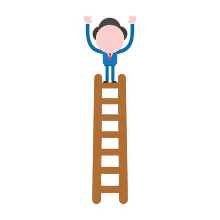 Vector illustration businessman character standing on top of wooden ladder.